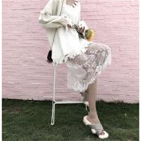 朵拉潮人馆 镂空破洞针织衫宽松毛衣+蕾丝中长款高腰网纱裙春装女