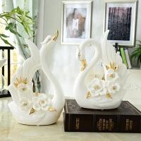 欧式创意陶瓷天鹅摆件实用一对客厅电视柜酒柜家居装饰品结婚礼物 天鹅一对