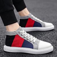 时尚新款夏季韩版潮流男鞋百搭休闲帆布板鞋男士高帮潮鞋透气布鞋