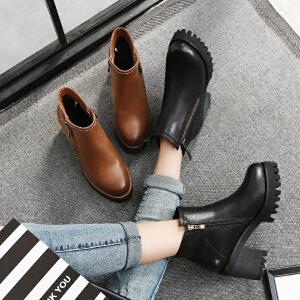 毅雅2017秋冬新款短靴女中跟韩版女马丁靴粗跟防滑侧拉链裸靴