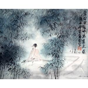 S傅抱石(款) 抚琴  22.5*34