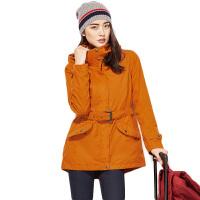 户外冲锋衣 女三合一两件套防风保暖加厚登山服防水透气 浅橙 175/XL