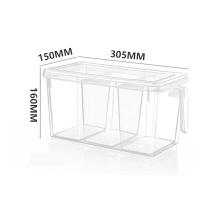 厨房收纳冷藏冷冻冰箱保鲜盒手提分格储物收纳盒食品保鲜盒 带三分格(1个) 305*155*160mm