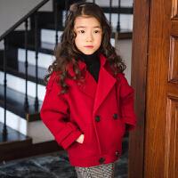 韩版童装2018冬季女童呢子大衣中大童短款外套呢大衣双排扣加厚