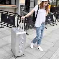 结婚皮箱密码托运行李箱拉杆箱男潮韩版皮箱铝框个性万向轮旅行直角韩版个性铝框行李箱 银色 耐磨耐刮时尚款