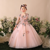 时尚新款花仙子长款女童礼服钢琴演出公主蓬蓬裙儿童连衣裙子