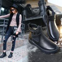 女靴子秋冬新头层牛皮平底短靴金属皮带扣厚底休闲加绒马丁靴 黑色加绒