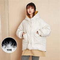 七格格羽绒服女中长款2019新款冬季时尚宽松正反两穿白鸭绒外套潮