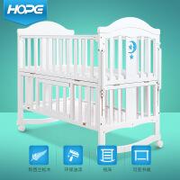 呵宝 婴儿床实木欧式宝宝床新生儿��捍� 带滚轮实木摇篮床