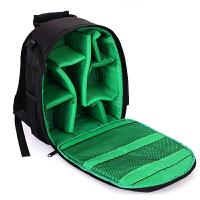 新款相机包简约男女士小型双肩摄影包单反相机包背包轻便防水 绿色 +防雨罩