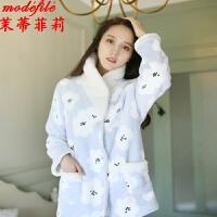茉蒂菲莉 家居服 女士冬季学生少女加厚加绒可外穿棉袄棉衣女式长袖裤子双层保暖两件套装时尚睡衣