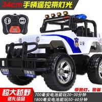 儿童电动遥控玩具汽车 超大号漂移充电越野警车 吉普男孩赛车模型