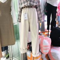 韩国ulzzang2018春装新款宽松百搭BF风阔腿裤女杏色高腰牛仔长裤