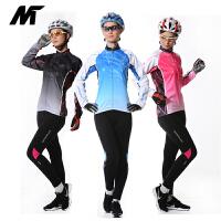 秋冬季骑行服套装女抓绒保暖自行车山地车衣服骑行裤装备