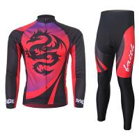 春夏长袖骑行服套装 男 排汗透气自行车服 红色 速干衣 男士套装 长套装 S 建议100斤以内