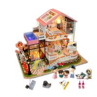 手工diy小屋子迷你小房子模型��意��g玩具屋超大拼�b�e墅公主房