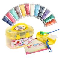 宝宝手指画涂鸦颜料套装儿童颜料可水洗水彩画画颜料12色
