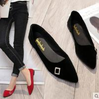 平底单鞋女尖头抖音同款新款百搭蝴蝶结浅口低跟英伦小皮鞋女鞋子