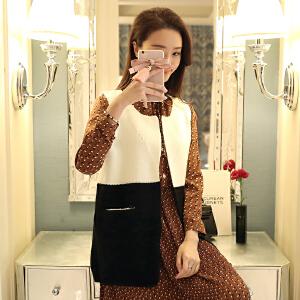 新韩版时尚百搭开衫针织衫女装宽松红显瘦舒适毛衣坎肩