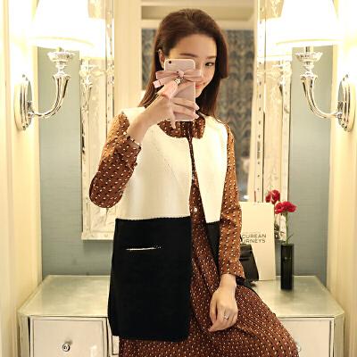 2018新款韩版时尚潮流百搭开衫针织衫女装宽松红显瘦舒适毛衣坎肩