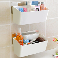 卫生间用品置物架浴室墙上壁挂厕所免打孔洗手间洗漱用品收纳架子 2个装 高深款