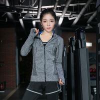 秋冬瑜伽服运动服跑步健身服女速干衣瑜珈长袖显瘦修身时尚外套女 灰色 外套