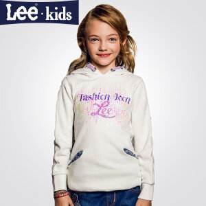 LEE童装 秋季新品女童时尚休闲百搭上衣 儿童连帽长袖卫衣