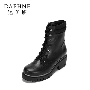 达芙妮集团鞋柜冬季舒适圆头厚底女靴时尚系带平底防滑短靴女-1