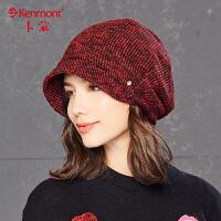 帽子女保暖加绒冬天韩版贝雷帽修脸型时尚百搭混色针织后托堆堆帽2540