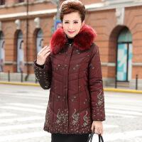 中老年女装冬装棉衣外套新品妈妈装毛领连帽印花保暖