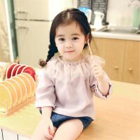 2018春装新款女童小童棉麻透气T恤婴儿宝宝荷叶领甜美打底衫欧美