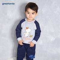 歌瑞家婴儿夹棉卫衣2017冬装新款男小童套头卫衣宝宝长袖上衣乐友