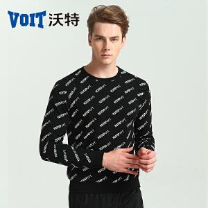 沃特运动时尚潮卫衣打底套头衫上衣男韩版青少年学生春秋款