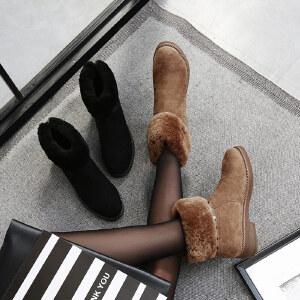 【满200减100】毅雅2017秋冬新款短靴低跟加绒保暖女马丁靴粗跟复古套脚裸靴雪地靴