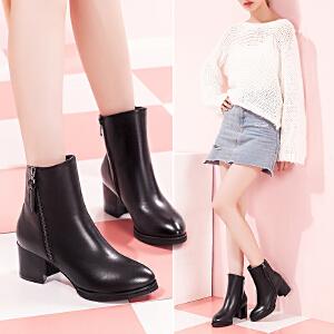 【毅雅】女鞋秋冬新款尖头粗跟中跟女靴中筒马丁靴女鞋子女英伦风
