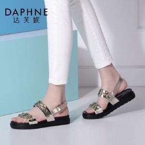Daphne/达芙妮时尚水钻细带环扣平底女凉鞋-