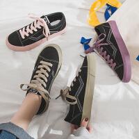 帆布鞋 女士复古ins系带板鞋2019夏季新款韩版时尚女式防滑低帮学生运动休闲鞋