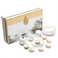 手绘功夫茶具茶杯套装家用 简易陶瓷荷花粗陶茶壶盖碗