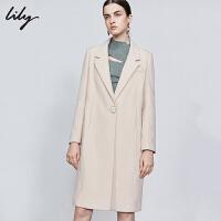 【新品直降到手价:619元】 Lily秋新款女装人字纹中长款羊毛宽松直身西装领毛呢外套1914