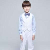 新款白色小西服钢琴演出服 男童礼服 儿童长袖马甲套装秋装 长袖白色马甲套装四件套