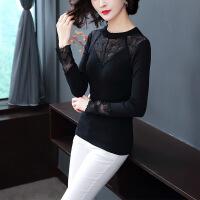 2018秋季新款女装韩版时尚修身薄款圆领冰丝衫蕾丝镂空拼接针织衫 黑色