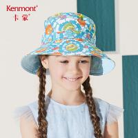 卡蒙6-9岁太阳帽宝宝防紫外线遮阳帽女可折叠儿童防晒帽双面可戴4773