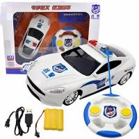 儿童仿真警车玩具车电动四通方向盘遥控汽车灯光警察充电男孩 神锋战警遥控车