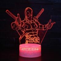 漫威钢铁侠3D小夜灯led立体台灯亚克力视觉梦幻儿童创意生日礼物