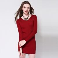 秋装女长款羊绒衫V领修身显瘦打底毛衣针织套头长袖简约百搭欧美