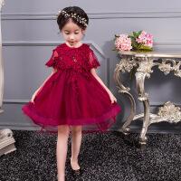 儿童披肩婚纱公主裙女童晚礼服钢琴演出女孩拖尾裙小主持独唱长裙