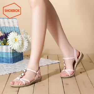 达芙妮旗下shoebox鞋柜夏季波西米亚学生凉鞋休闲校园平底纯色女鞋