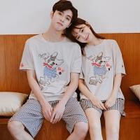 情侣睡衣 家居服女夏韩版宽松学生卡通纯棉男士 可爱套装