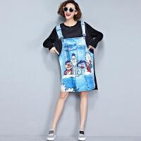 特大码女装秋装200斤韩版卡通牛仔印花雪纺拼接T恤衫中长款连衣裙