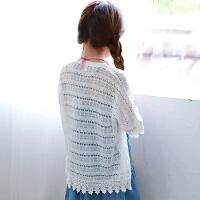 韩版女童针织开衫夏季空调衫时尚薄款五分袖外套儿童镂空上衣